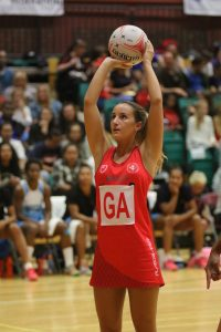 Sarah Llewelyn shooting for Wales in their recent victory over Fiji (C) Ian Lovell
